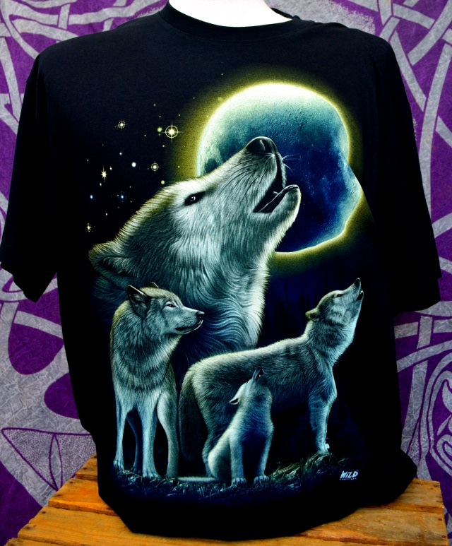 Double Print Howling Wolf T-Shirt