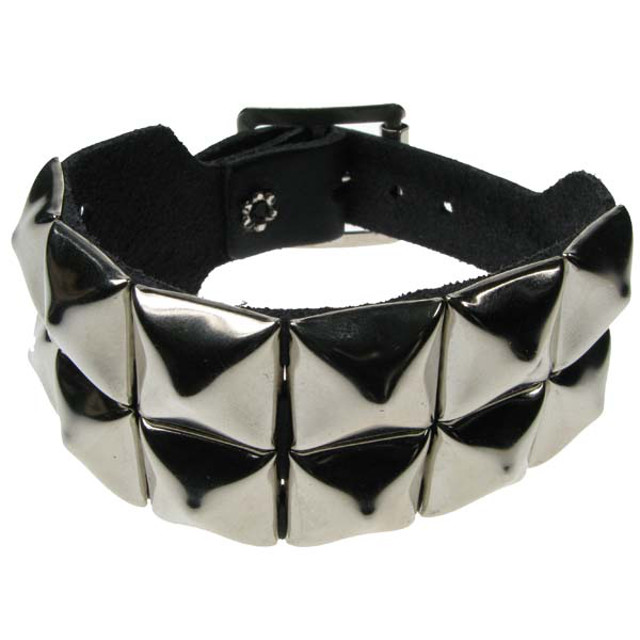 2 Row Pyramid Leather Wristband