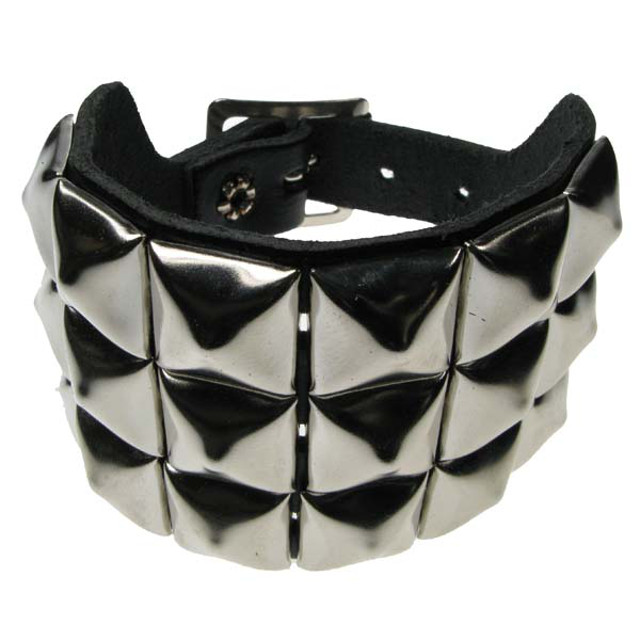 3 Row Pyramid Leather Wristband
